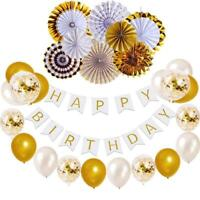 Birthday Decorations Set Gold White Birthday Banner Confetti Balloons Paper Fans