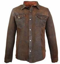 Lederhemd Langarm Echtleder Lammnappaleder Ricano Reverse Shirt braun-cognac M