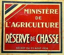 """Vintage Metal sign panel """"Réserve de Chasse""""  F. VINATIÉ Bordeaux France"""