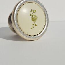 Möbelknopf knöpfe schrank Küchen Silber-grün blumen Landhaus Style Tür Griffe