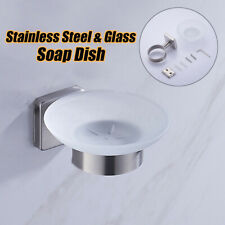 Stainless Steel Bathroom Shower Soap Glass Holder Dish Rack Wall Mounted .
