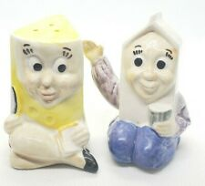 Vtg 12th Convention Salt and Pepper Shaker Club  Anthromorphic Milk and Cheese