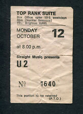 1981 U2 Comsat Angels Concert Ticket Stub Brighton UK October Tour Rare