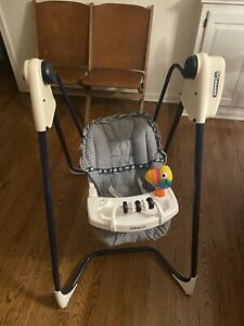 Vintage Graco open top baby swing Easy Entry 3 speed Navy Blue Toy