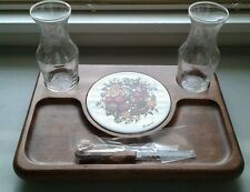 New NIB Danish Modern 1970's Goodwood Cheese Tray w Decanters Snack
