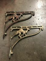 """Rare  Antique Wrought Iron With Camel Shelf Brackets12"""" X 13.5"""" Deep"""