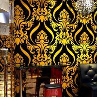 Gold black red Textured Luxury Damask pvc Wallpaper 3D For Living Room Bedroom