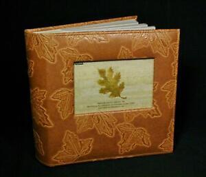 Vintage Pioneer Brown Leather Leaf Print Photo Album
