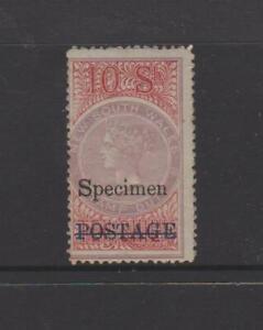 "1885 NSW 10/- Stamp Duty with ""POSTAGE"" & ""SPECIMEN"" overprints, MUH. Free Reg P"