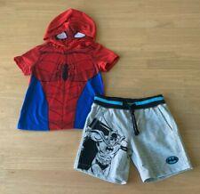 Boys size 2 Marvel Spiderman hooded summer top & Grey Batman shorts New