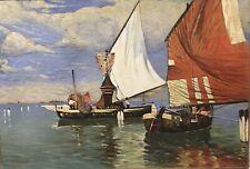 Tableau Peinture 20è XXè R.Bouvier Paysage Marine Réalisme Pêcheurs Rare ancien