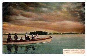 Early 1900s Pleasure Party on Beaver Lake, Beaver Dam, WI Postcard *5F(3)10