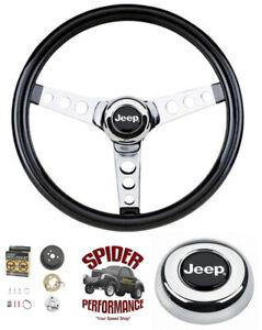 "1976-1986 Jeep CJ5 CJ7 steering wheel 13 1/2"" GLOSSY GRIP"