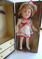 """Vintage 1930s 16"""" Compo Ideal Shirley Temple Doll in Trunk w/ Tagged Trunk Dress"""