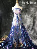 1M Glitzer Feder Muster Durchsichtig Netzstoff Kostüm Vorhang Tuch 150cm Breit