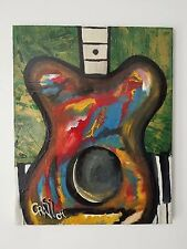 "Modernist Abstract Oil Painting Title ""Guitar"" by Crass Lot # 2"