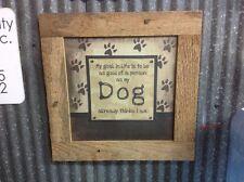Dog wall art reclaimed barnwood square nail frame Life Goal