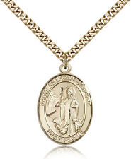 "Saint Anthony Of Egypt Medal For Men - Gold Filled Necklace On 24"" Chain - 30..."