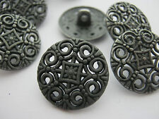 "6 Metal Buttons Shank 18mm (3/4"") Gunmetal Grey Sewing Buttons Coat Buttons"