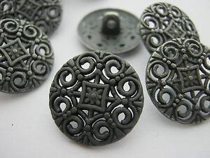 "6 Metal Buttons Shank 18mm (3/4"") Gunmetal Grey Sewing Buttons Coat Buttons"