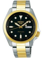 NEW Seiko 5 Sports 100M Automatic Men's Watch Black Dial 2 Tone Gold Plated SRPE
