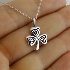Trinity Knot Clover Necklace - 925 Sterling Silver - Shamrock Pendant Triquetra