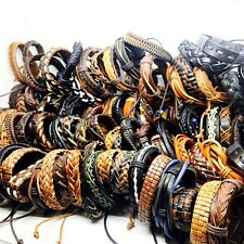 30pcs black/brown men's vintage Genuine Leather surfer jewelry cuff bracelets
