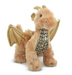Melissa Doug Luster Dragon Stuffed Animal Shiny Gold Wings Flying Plush Soft