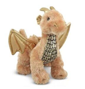 Melissa Doug Luster Dragon Stuffed Animal Shiny Gold Wings Flying Plush Soft