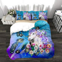 White Dragon Horse 3D Quilt Duvet Doona Cover Set Single Double Queen King Print
