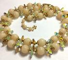 Vintage VENDOME 2 Strand Necklace Beige Sugar Beads & Green AB Crystal Discs