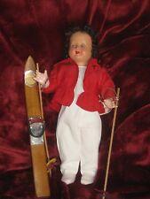 Poupée ancienne skieuse FREDVA 32 cm
