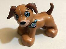 *NEW* Lego Duplo Animal DARK TAN Dog BROWN Tail & Ears BLUE Eyes