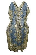 Women Summer Kaftan Nightdress Viscose Sleepwear Printed Long Maxi Night Kaftan