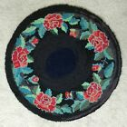 Hooked rug C1940 Round with Roses Exc. condition.  35 inch diameter