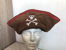 Old Navy Toddler Plush Brown Pirate Skull Crossbones Costume Hat Halloween 2T p4