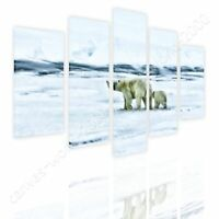 Bears In The Arctic by Split 5 Panels | Ready to hang canvas | 5 Panels Wall art