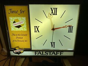 Very Rare Falstaff Beer clock lighted 1960's vintage Working St Louis MO mid cen