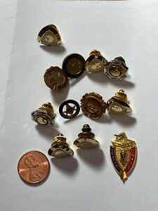 Large Lot Gold Plated Filled Shell Indian Masonic Pins Service Award Gem Stones