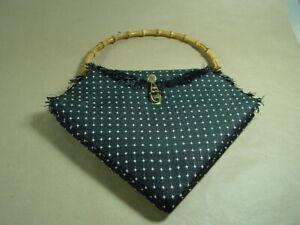 Elegante Damenhandtasche original 50er Jahre Handtasche mit Bambusgriff.