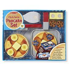 Melissa & Doug Flip and Serve Pancake Set 19 pcs - Wooden Breakfast Play Food