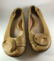 BORN TAN LEATHER BALLET FLATS WITH EMBELLISHMENTS WOMEN'S SIZE 11 M/W