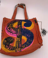 Andy Warhol Dollar Sign Money Canvas Bag Tote Overnight Purse Distressed Rust