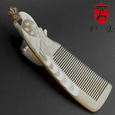 100% Natural Genuine White yak horn comb Handmade White peacock carving comb