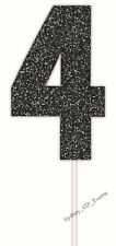 4th Birthday Party Sign Cake Topper Number Four Glitter Black 4 Pick 14th 40th