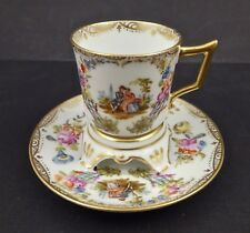 Antique Dresden Termbleuse Demitasse Cabinet Cup & Saucer Scenic Hand Painted