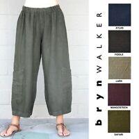 BRYN WALKER Heavy Linen  CASBAH PANT  Crop Pocket Pants  XS S M L XL SPRING 2019