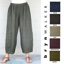 5105eb1e88b BRYN WALKER Heavy Linen CASBAH PANT Crop Pocket Pants XS S M L XL SPRING  2019