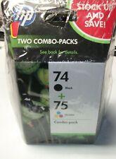 2 GENUINE HP COMBO PACKS 74 BLACK & 75 TRI-COLOR INK CARTRIDGES sealed new