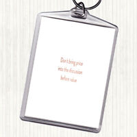 Rose Gold Price Before Value Quote Bag Tag Keychain Keyring